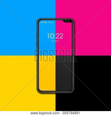 Cmyk Smartphone Isolated On Color Background. 3d Render Illustration