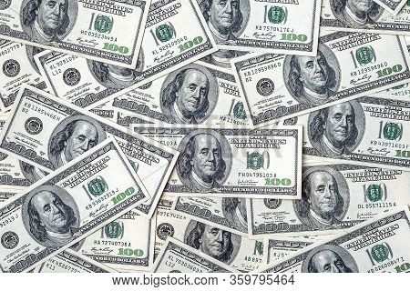 One Hundred Dollars. Top View Money Supply. Us Dollars Banknotes Background. Hundred Dollar Bills. A