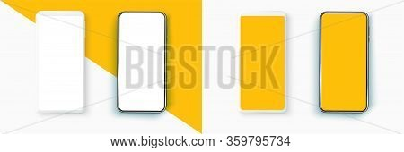 Realistic Smartphone Mockup Set. Mobile Phone Blank, White. Device Ui Ux Mockup For Presentation Tem