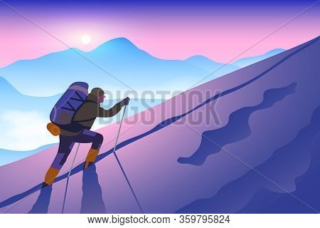 A Climber With Backpack And Trekking Poles Climbs Up A Snowy Slope To The Mountain Top. Sunset Sky O