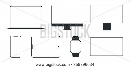 Device And Gadget Line Art Set. Modern Electronic Devices. Compact Personal Computer, Smartphone, Mo