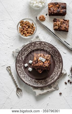 Chocolate Brownie Cake With Marshmallows And Nuts