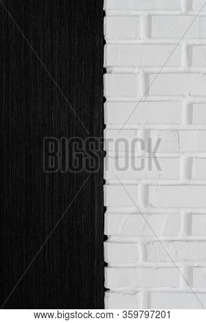 Black And White Texture,half White Brick Wall And Half Black Dever,background For Designers,half Wal