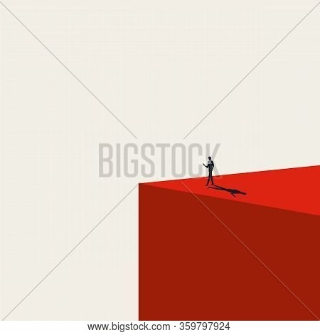 Smartphone Addiction Vector Concept With Man Walking With Phone In Hand To Abyss. Social Media, Netw