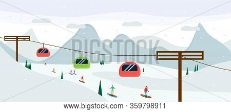 Ski Resort, Mountaineering Adventure Flat Vector Illustration. Swiss Alps, Fir Trees, Snow Hills Win