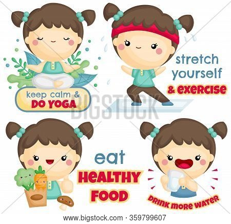 A Vector Set Of Cute Girl Exercise And Lead A Healthy Lifestyle