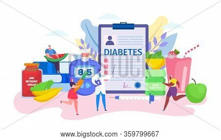 Diabetes Concept Vector Illustration. Cartoon Flat Doctor Character Advising Tiny Patient People In