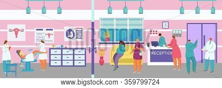 Gynecological Doctor Examination Vector Illustration. Cartoon Flat Woman Patient Character On Gyneco
