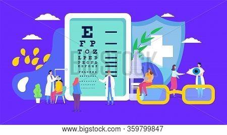 Ophthalmology, Eye Health Vector Illustration. Cartoon Flat Tiny Myopia Patient Character On Examina