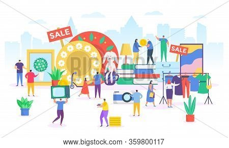 Flea Market Vector Illustration. Cartoon Flat Tiny People Selling Or Shopping Old Fashion Clothes In