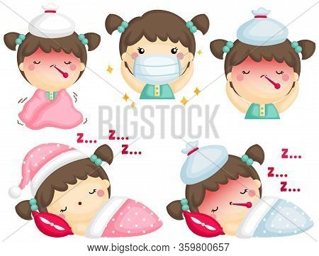 A Vector Set Of Cute Sick Girl In Many Positions And Conditions