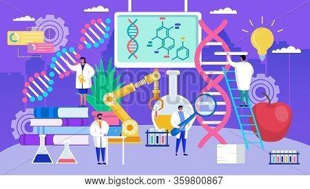Genetic Engineering Dna Vector Illustration. Cartoon Flat Tiny Geneticist People Work In Laboratory,