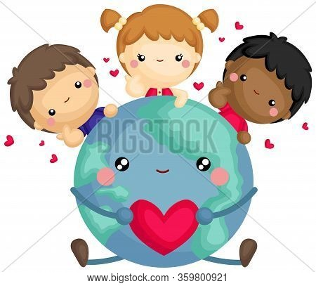 A Vector Of Cute Children From All Over The World Hug The Earth With Love