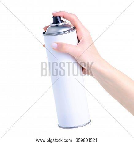 Black Paint Bottle In Hand On White Background Isolation