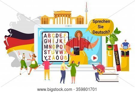 Learning German Language Vector Illustration. Cartoon Flat Tiny Student People Learn To Understand G