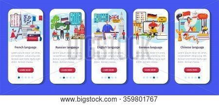 Learning Language App Vector Illustration. Cartoon Flat Vertical Mobile Smartphone Application Inter