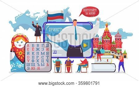 Learning Russian Language Vector Illustration. Cartoon Flat Tiny Student People Learn Russian In Sch