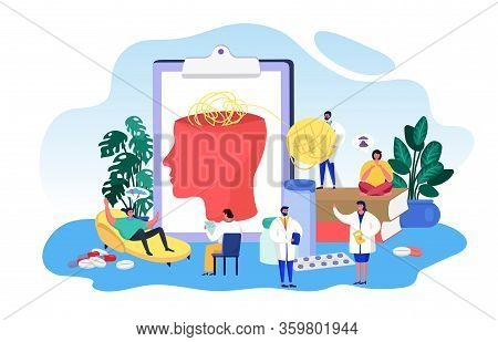 Mental Disease Psychology Vector Illustration. Cartoon Flat Tiny Doctor People With Patient, Psychol