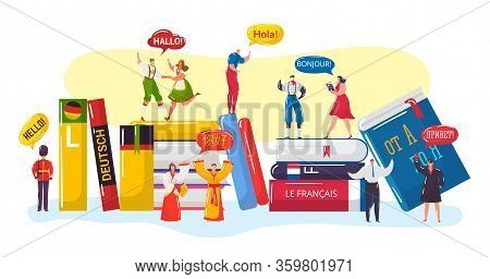 Multilingual Greeting Vector Illustration. Cartoon Flat Tiny People In National Traditional Clothes