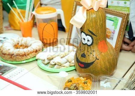 Grinning Pumpkin Photo. Scary Halloween Pumpkin Stock Images. Halloween Pumpkin With Spooky Face . C
