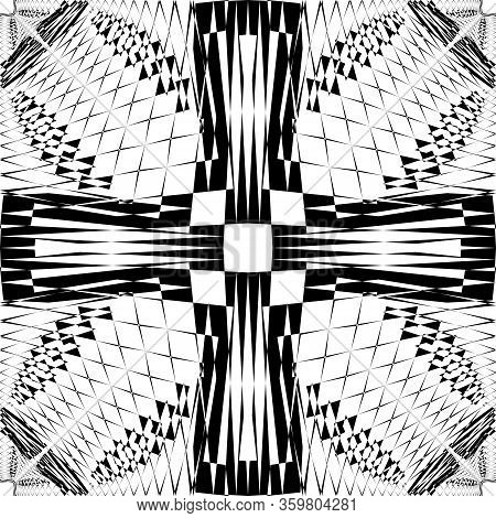 Abstract Arabesque Fence Developement Project Cross Design Black On Transparent Seamless Plaid Backg
