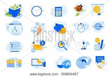 Flat Design Concept Icons Collection. Vector Illustrations For Graphic Design, Data Analysis, Market