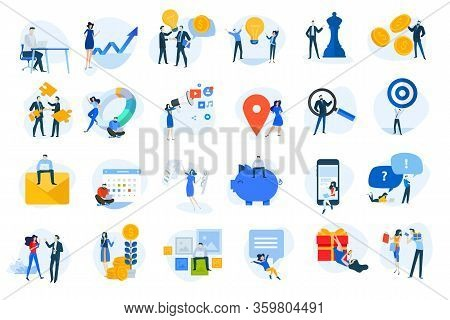 Flat Design Concept Icons Collection. Vector Illustrations For Business, Finance, Digital Marketing,