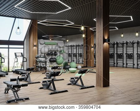 Modern Gym Interior With Sport And Fitness Equipment, Fitness Center Interior, Interior Workout Gym,