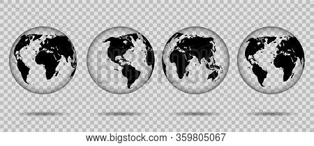 3d Transparent Globes Of Earth Icon. Globus Silhouette With Continent Usa, Europe, Asia, Africa. Rea