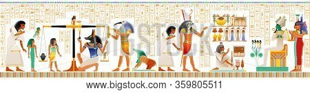Seamless Egyptian Papyrus From Book Of Dead. Weighing Of Heart, Afterlife Duat Ritual. Osiris Judgme