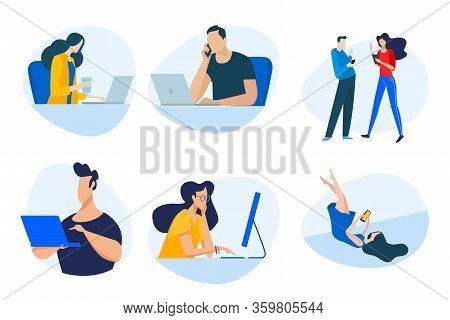 Flat Design Concept Icons Collection. Vector Illustrations Of Businessmen, People In The Office, Com