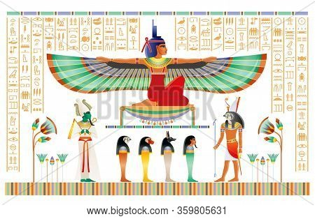 Egyptian Papyrus With Gods And Goddess. Isis With Wings, Horus, Osiris, Ancient Egyptian Deitiy In O