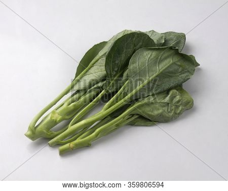 Fresh Green Kales Isolated On White Background