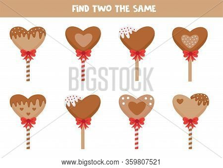 Find Tfind Two The Same Lollipops. Educational Logical Game For Kids.wo The Same Lollipops. Educatio