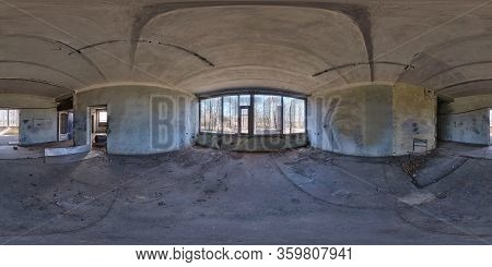 Full Seamless Spherical Hdri Panorama 360 Degrees Angle View Inside Abandoned Empty Concrete Structu