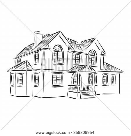 Beautiful Cozy House, Built House Realistic Vector Sketch Illustration