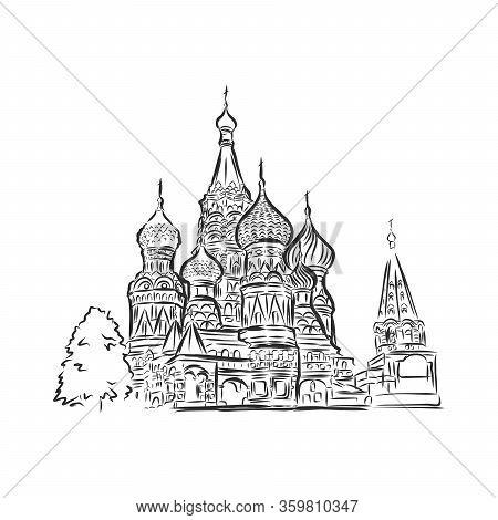 St. Basils Cathedral In Moscow On Red Square, Vector Sketch Illustration