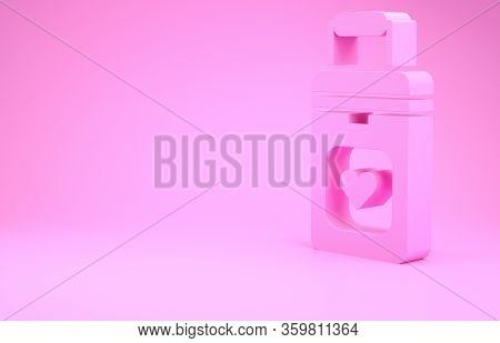 Pink Cooler Box For Human Organs Transportation Icon Isolated On Pink Background. Organ Transplantat