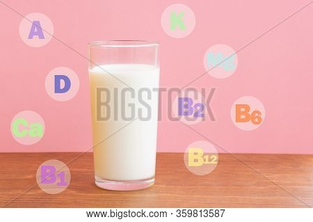 Glass Of Fresh Milk On Wooden Table With Pink Background. Milk In Glass With Chemical Abbreviations