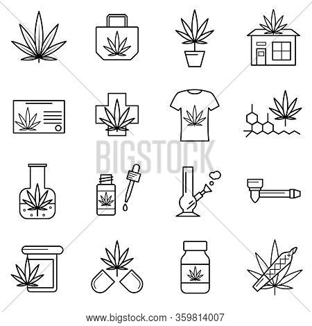 Cannabis Sign Black Thin Line Icon Set Include Of Pill, Bottle And Tshirt. Vector Illustration Of Ic
