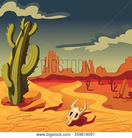 Cartoon Color Desert Landscape Scene Concept Flat Design Style Include Of Sand And Cactus. Vector Il