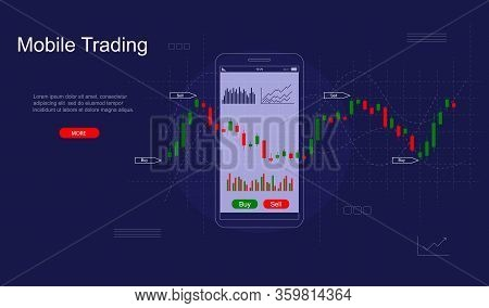 Mobile Stock Trading Concept Card Landing Web Page Template Include Of Diagram, Smartphone And Candl
