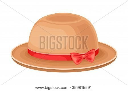 Female Hat With Wide Brim And Ribbon With Bow Vector Illustration