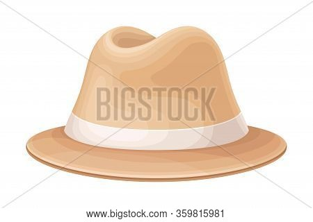 Wide-brimmed Stylish Male Headwear As Clothing Item Vector Illustration