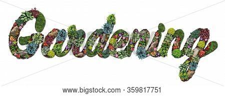 Gardening Symbol And Garden Text As A Landscaping Design Hobby With Perennial Lawn With A Flowerbed