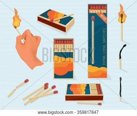 Burning Matches. Safety Packages For Matchstick Wooden Stick Flame Symbols Vector Illustration In Ca