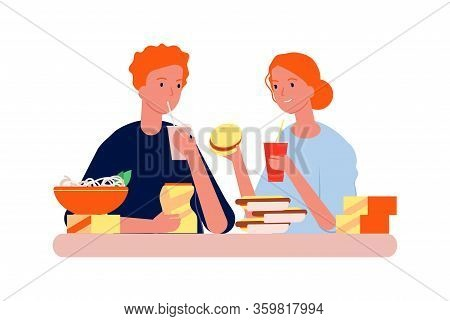 Food Addiction. Man Woman With Junk Eating. Hungry People Eat Burgers, Hot Dogs And Chips Vector Ill