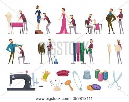 Tailor Items. Fabric Sewing Measuring Accessories Dressmaker Gadgets Hangers Thread Needle Vector Ca
