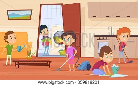 Housework With Parents. Family Couple Mother Father And Kids Making Cleaning In House Wash Furniture