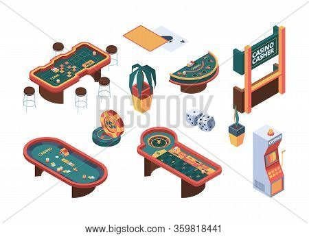 Casino Isometric. Poker Gambling Table Gaming Nightclub Cards Room Vector Gammers People. Casino Cha